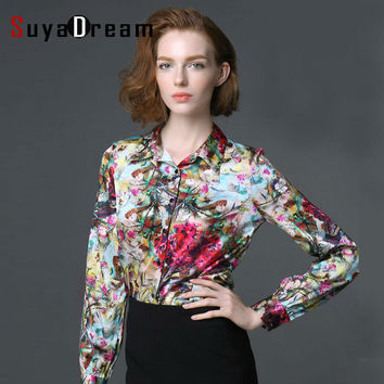 REAL SILK Blouses of Women Long Sleeve Plus Size Working Official Satin Stretch Blouses