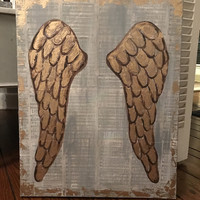 gold golden angel wings painting