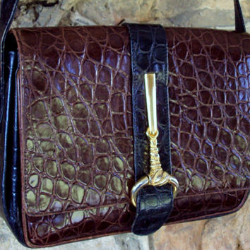 Rodo shoulder bag - vintage 80s dark brown & black reptile croc embossed leather - vtg purse