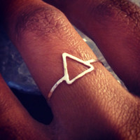 Hammered Sterling Silver Triangle Arrow Ring