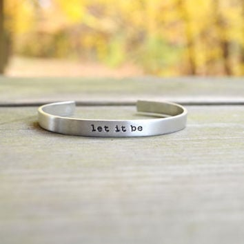 Let It Be Bracelet - Quote - Music - Beatles - Inspirational - Infinity Symbol - Looks Like Silver - Under 25 - Stocking Stuffer