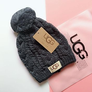 """UGG"" Fashionable Lover Chic Knit Hat Warm Cap Dark Grey"