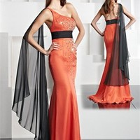 One Shoulder Mermaid Empire Waist Beading Prom Dress PD0046