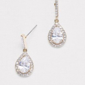 Pear Solitaire Pave Earrings | David's Bridal