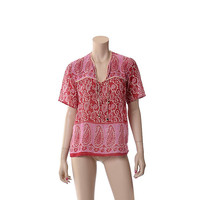 Vintage 60s India Sheer Pink Cotton Gauze Metallic Top 60s 70s Paisley Floral Boho Woodstock Indian Hippie Blouse / XS to M