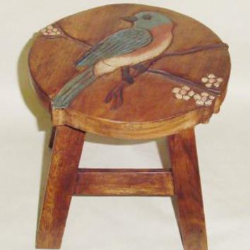 Bluebird Hand Carved and Hand Painted Wood Footstool