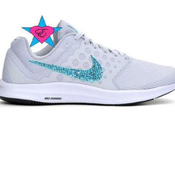 Women Glitter Crystal Bling Gray Blue Nike Downshifter 7 Running eb86c845f