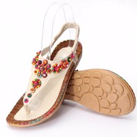 Women's Beaded Bohemian Flat Slip-on Beach Sandal, Beige Or Khaki, 6.5 - 9