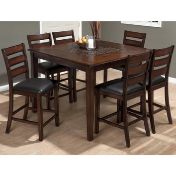 Baroque Brown 7 Piece Square Pub Height Table & Slat Back Chair Set