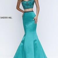 Two Piece Cap Sleeve Prom Dress with Beaded Bodice by Sherri Hill