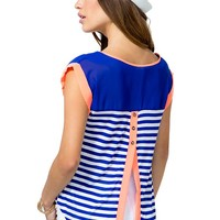 Candace Split Back Stripe Tee