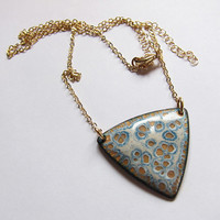 Long beige, gold and gray geometric necklace, statement enamel jewelry unique triangle pendant one of a kind artisan jewelry