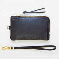 Black Leather Zipper Pouch, Everyday Wristlet, Zipper Clutch, Zipper Wallet, Cell Phone Pouch