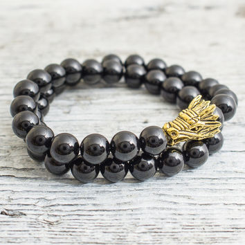 Douple wrap black onyx beaded gold Dragon head stretchy bracelet, made to order yoga bracelet, mens bracelet, womens bracelet