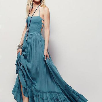 """Boho Maxi Dress Teal Blue """"Extratropical"""" Halter Gown Size Large Long Strappy Backless Gauze Gypsy Dress Smocked Front Adjustable Waist Triple Tiered Hem"""