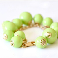 Glossy Bubble Bracelet - Lime Green