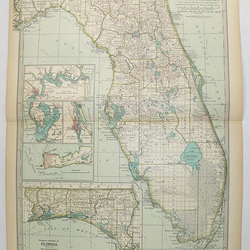 1899 Vintage Map Of Florida 1st Anniversary Gift For Couple Antique Art