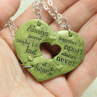 Friendship Pendants Break apart gift for 3 Heart Puzzle pendants Green Gold polymer clay