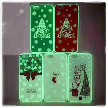 JFWEN For iPhone 8 Case TPU Soft Silicone Luminous Christmas Series Luxury Phone Cases For iPhone 8 7 6 6S Plus Case Cover Back