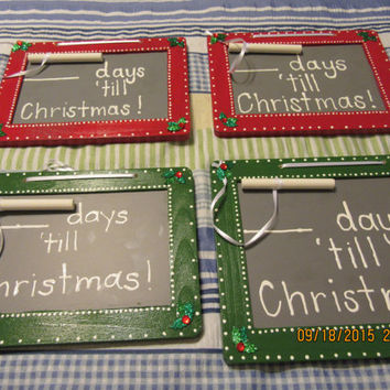 Chalkboard - Days Till Christmas - Red and Green With Holly Accents