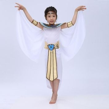 Cool Free shipping 2016 new  Children Halloween Cosplay Masquerade queen Cleopatra costume for girls Princess costumeAT_93_12