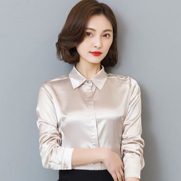 Women Simulate Silk Satin Shirt Long Sleeve Business Formal Shiny Blouse Tops Elegant Performance Wear Fashion