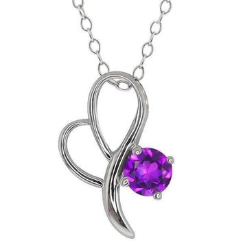 0.50 Ct Round Amethyst Heart Shape 925 Silver Pendant