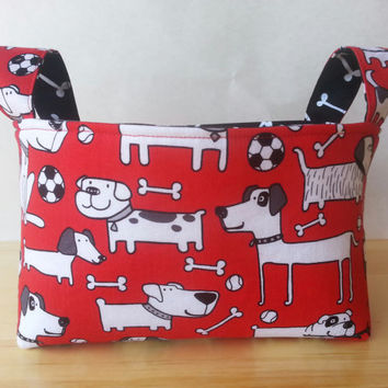 Medium Fabric Storage Bin Basket- Fido and Dog Bones