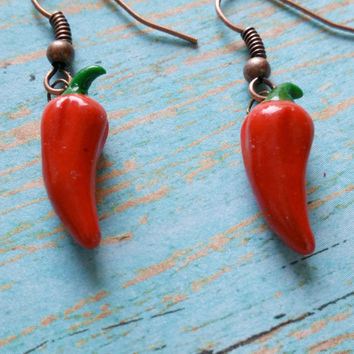 Big Pepper Earrings, Chili Pepper Earrings, Red Pepper Earrings, Southwestern Jewelry, Wood Pepper Earrings, Chili Pepper Jewelry