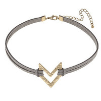 Canvas Cut-Out Chevron Leather Choker