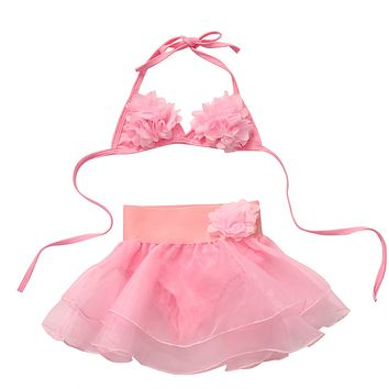 Summer Toddler Kids Baby Girls Pink Lace Bikini Swimwear Swimsuit Bathing Suit Beachwear