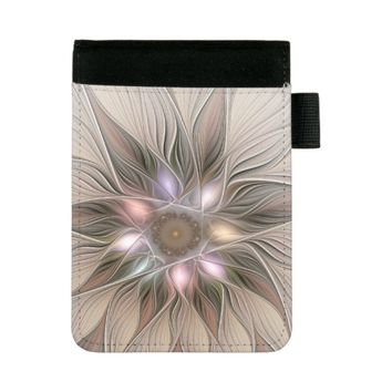 Joyful Flower Abstract Beige Brown Floral Fractal Mini Padfolio