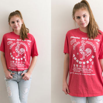 Sriracha Hot Sauce Graphic Shirt / Collectors Vintage Tee Novelty / 90s Grunge Retro 1990s / Unisex Soft Oversized Small Medium Large