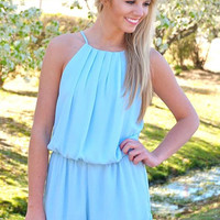 Can't Get Enough Romper- Blue