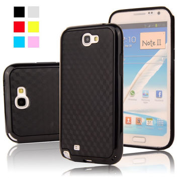 For Galaxy Note 2 Case Black 3D Carbon Fiber Matte Hybrid TPU+PC Gel Case For Samsung Galaxy Note 2 II N7100 Mobile phone Cover