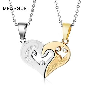 Meaeguet Stainless Steel Heart Love Promise Necklaces For Couples Women Men Love Forever Trendy Paired Suspension Pendants