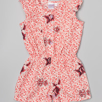 Yo Baby White & Pink Floral Ruffle Romper - Infant | zulily
