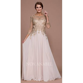 Illusion Appliqued A-line Long Formal Dress Mid-Sleeves Gold