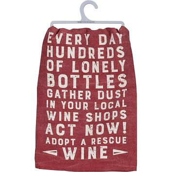 Act Now! Adopt A Rescue Wine Dish Towel in Red and White