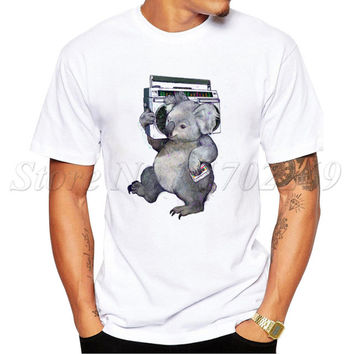 2017 Newest Fashion koala Vintage Design Men t-shirt Summer Short Sleeve Casual Tops Hipster Tee Shirts