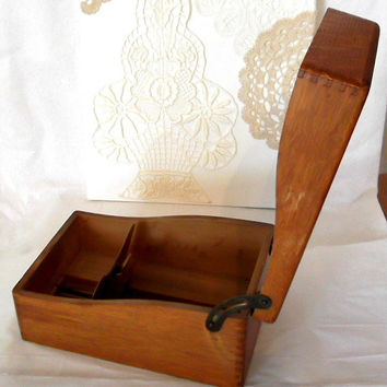 Vintage Shaw Walker Wood Index Card File Box with Dovetail joints