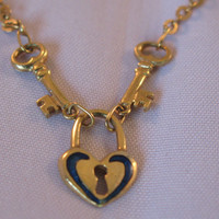 Vintage 18k Yellow Gold Heart Key Lock - Padlock Necklace - Valentine Gift