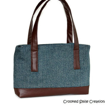 Vegan Leather on Denim Bag by CrookedSmileCreation on Etsy
