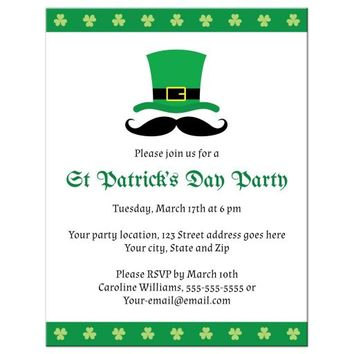 St Patrick's day party invitation with leprechaun hat and mustache