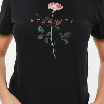 Missguided - Black Eternity Washed Crop T-Shirt