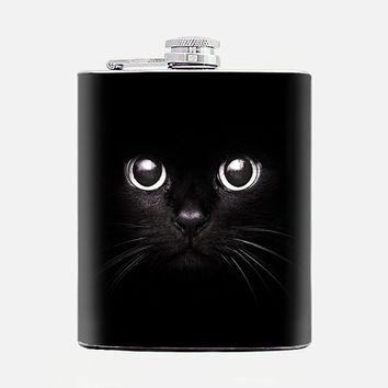 Black cat eyes Flask for women Gift for her Womens birthday gift Bridesmaid flasks 7 oz liquor hip flask