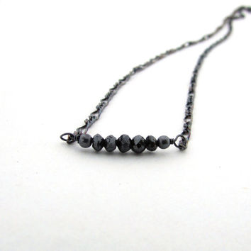 Black diamond necklace, polished diamond necklace, delicate necklace, oxidized sterling silver wire wrapped necklace,diamond jewelry