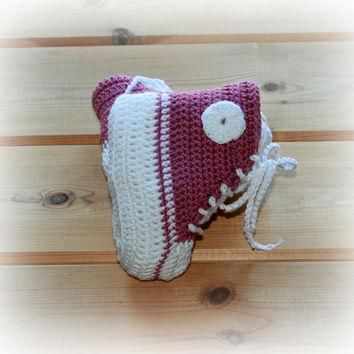 MADE TO ORDER baby crochet girls converse style boots booties shoes high tops 0 -3m /