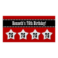 75th Birthday Red Black White Stars Banner V75S Posters