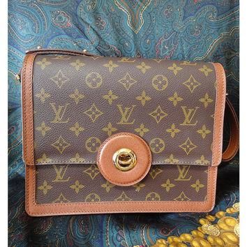 Vintage Louis Vuitton rare brown and monogram shoulder purse with bullet eye turn lock